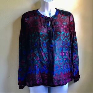 Lucky Brand Sheer Red Teal Floral Boho Blouse